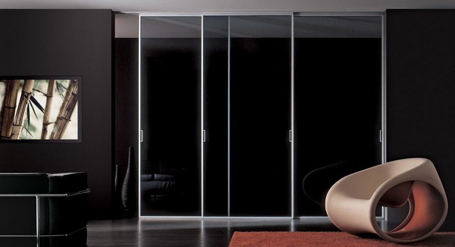 the luna, designed by massimo cavana: this new system of doors with a reduced frame is available in all new finishes & a wide selection of glass.
