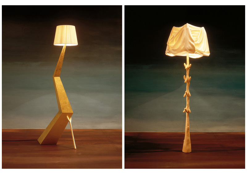 bracelli (left): panel structure covered with silver-plated polyester painting (fine gold leaf). lamp shade in ivory cotton and rayon.  muletas (right): carved structure in pale varnished lime-wood. lamp shade in beige.