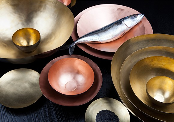 gift idea 7.0: form bowl set by tom dixon/ a nest of five delicate dishes formed from fine sheets of brass and finished with a warm gold wash. available in shallow and deep sets. to purchase/stop by the store.
